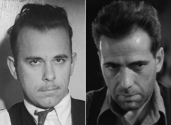 John Dillinger (1934) and Humphrey Bogart in The Petrified Forest (1936)