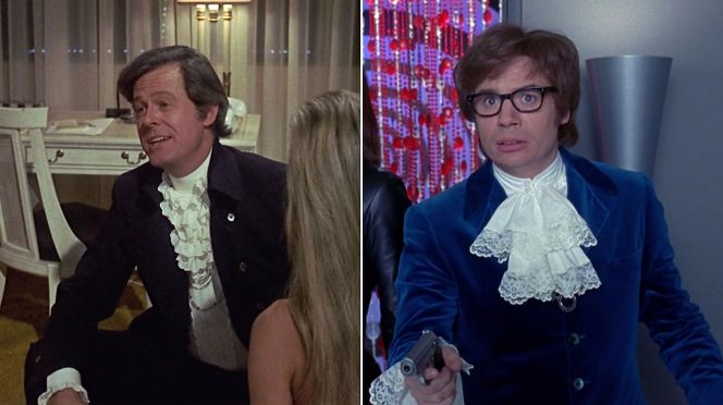 Robert Culp as Bob Sanders in Bob & Carol & Ted & Alice (1969) and Mike Myers in Austin Powers: International Man of Mystery (1997)