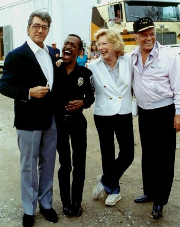 Frank Sinatra reunites with frequent co-stars Dean Martin, Sammy Davis Jr., and Shirley MacLaine on the set of Cannonball Run II (1984)