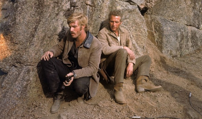 Robert Redford and Paul Newman, filming Butch Cassidy and the Sundance Kid (1969)