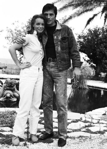 Alain Delon and Romy Schneider during production of La Piscine.
