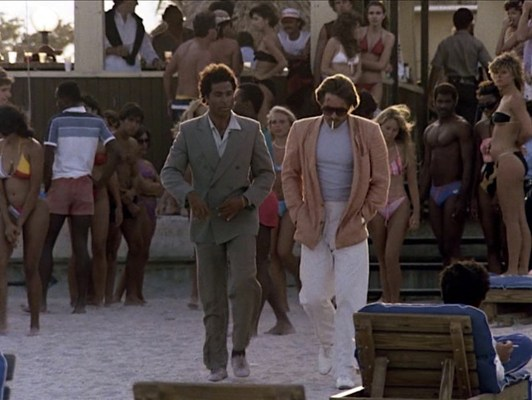 """Philip Michael Thomas and Don Johnson in the Miami Vice pilot episode """"Brother's Keeper"""""""