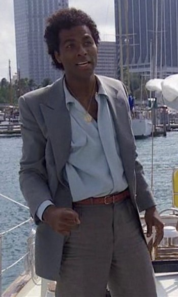 """Philip Michael Thomas as Ricardo Tubbs in the Miami Vice pilot episode """"Brother's Keeper"""""""