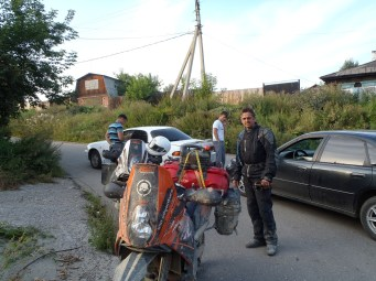 Outside the old Irkutsk biker HQ.