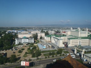 Ulan Ude hotel window view.