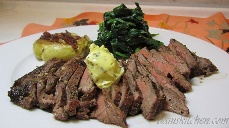 iron boosting flank steak with herbed butter and mile high spinach