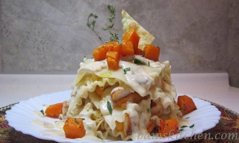 Topless Butternut Ravioli with Sauteed chicken and a creamy wild mushroom sauce