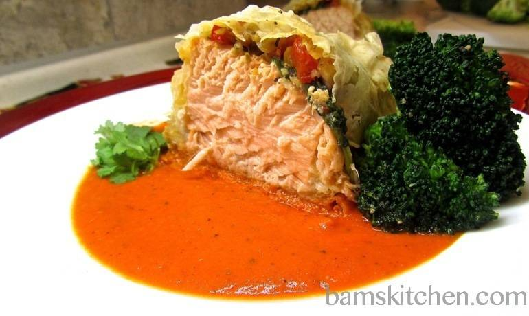 Salmon Parcels with Sweet Red Bell Pepper Pesto