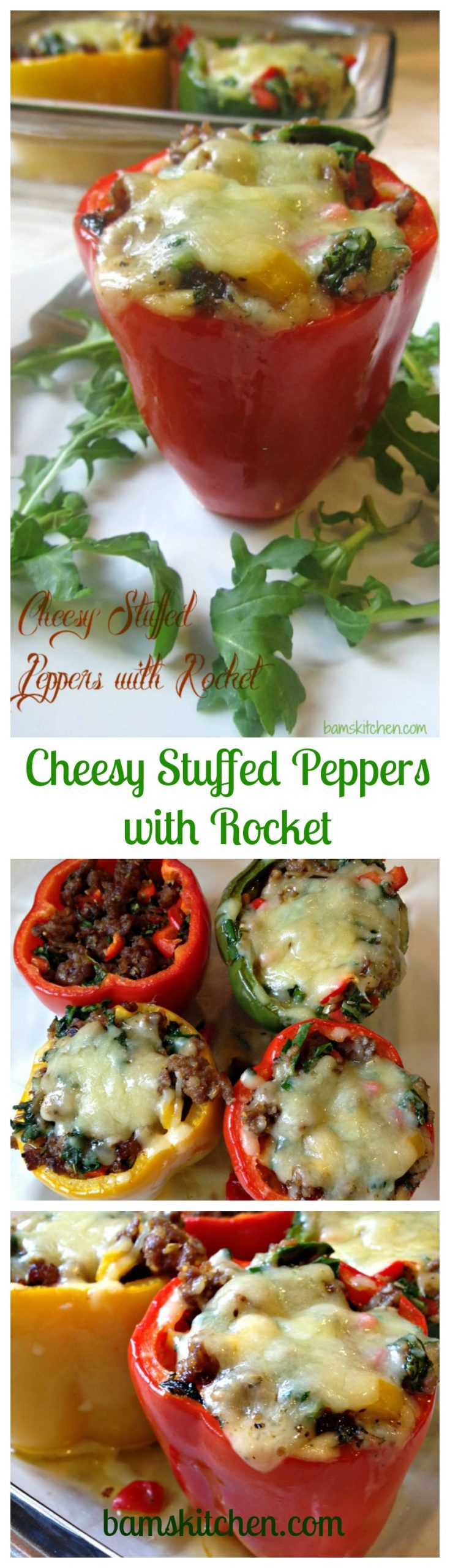 Cheesy Stuffed Pepper with Rocket - Bam's Kitchen