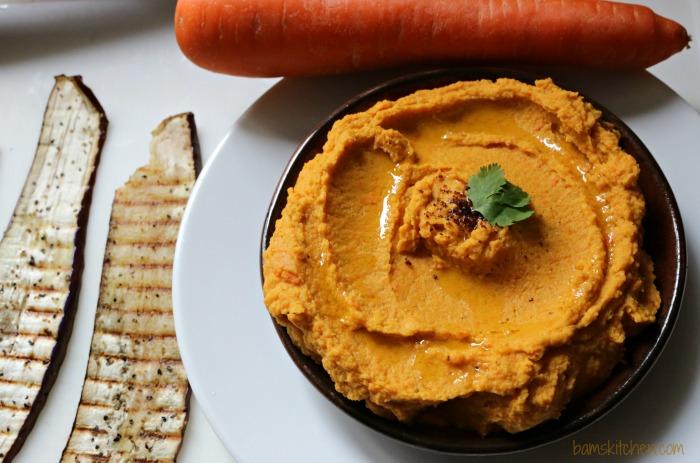Roasted Carrot Spiced Hummus Rolls