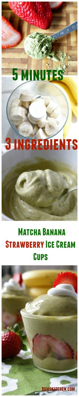 Matcha Banana Strawberry Ice Cream Cups / http:/bamskitchen.com