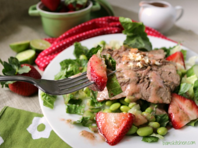 Seared Steak Salad with Strawberry and Cucumber Dressing / http://bamskitchen.com