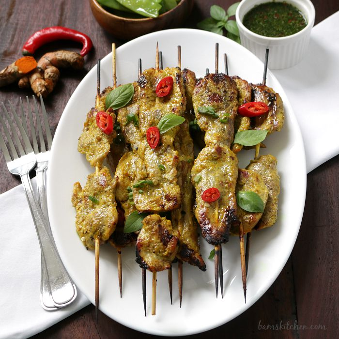 Turmeric Pork Skewers and Thai Basil Dipping Sauce / http://bamskitchen.com