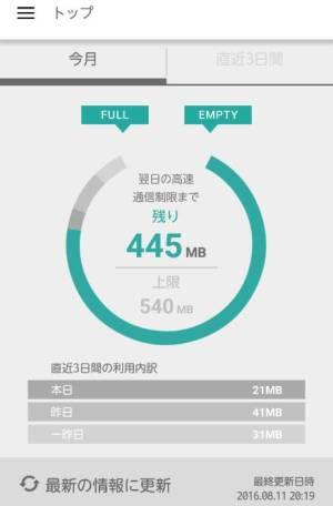 楽天モバイルのアプリ画面