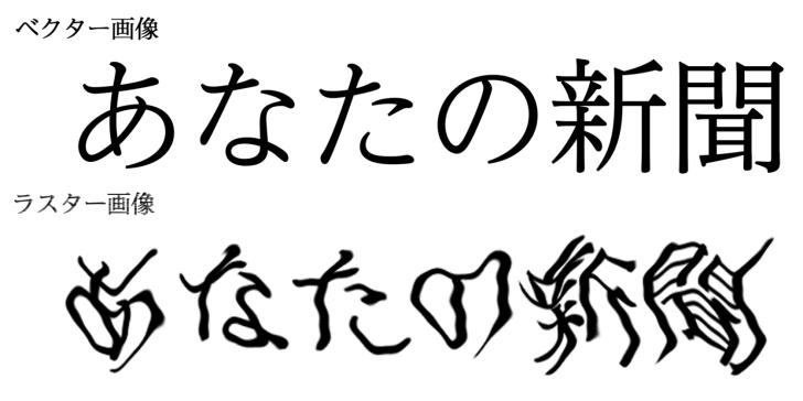 ベクター文字とラスター画像となった文字を拡大