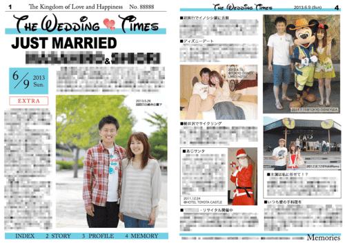 2013年6月に制作した英字新聞風の結婚新聞(表面)