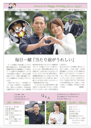 2015年10月に制作したスポーツ新聞風の結婚新聞(裏面)