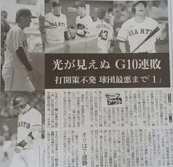 読売ジャイアンツが10連敗を喫した時の朝日新聞の紙面
