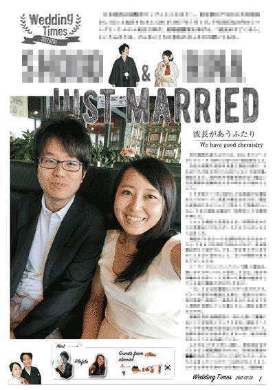 プロフィールブックと英字新聞を掛け合わせて作った結婚新聞