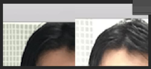 頭が切れた元画像(左)と追加する頭頂部の画像。2つの画像は明るさが異なる