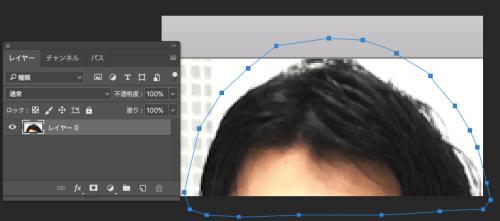 元画像の頭をペンツールで囲む。パスをクローズさせて、作業用パスを作成して選択範囲を作成する