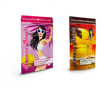 banana beach beauty sliming tablets and tanning tablets in pouches