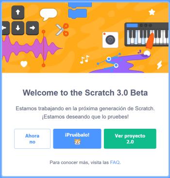 Pantalla de bienvenida a Scratch 3.0 beta