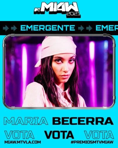 """María Becerra se encuentra nominada como """"Mejor Artista Emergente"""" para los MTV MIAW, México."""