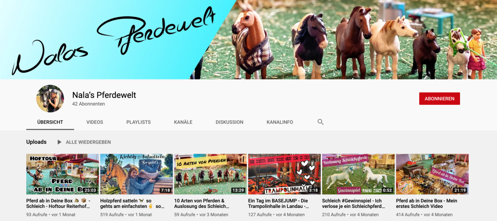 Vorschaubild für den YouTube Kanal von Nala's Pferdewelt