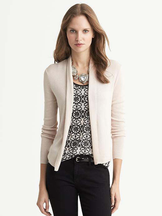 Banana Republic Silk/Cashmere Open Cardigan - Soft ivory