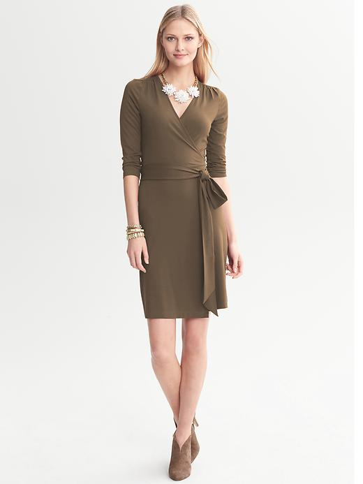 Banana Republic Gemma Wrap Dress - Island khaki