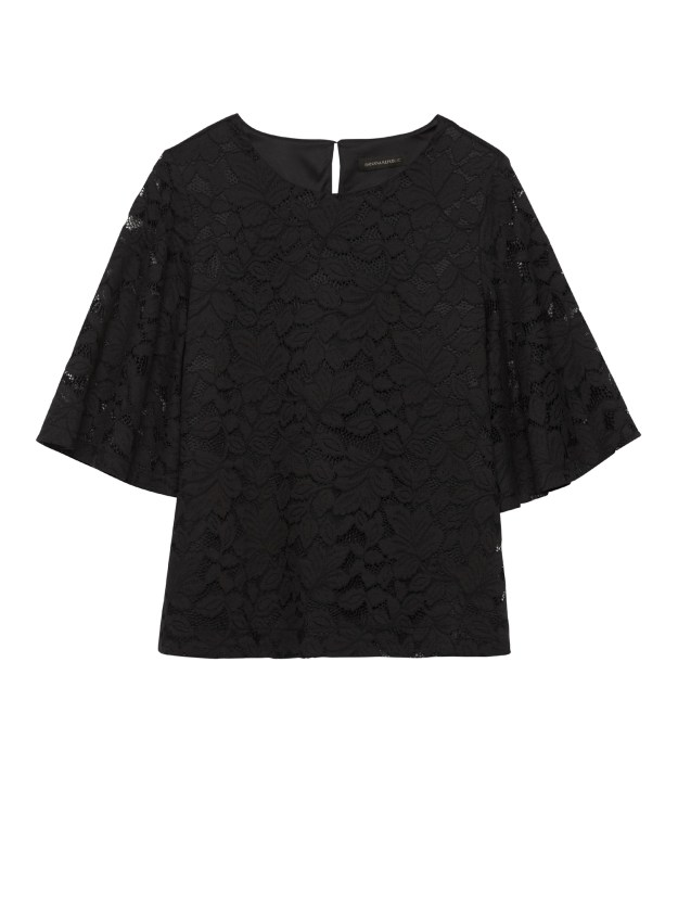 Banana Republic Black Lace Flare Sleeve Top