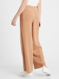 View large product image 2 of 3. Petite Wide-Leg Cozy Knit Pant