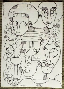 """SIMULACRO"" - (b)ananartista orgasmo SBUFF - pen drawing on paper - http://www.bananartista.com"
