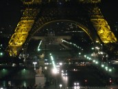 A little blurry, but traffic passing by under the Tour Eiffel at night.