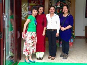 May and Annie with hotel staff in Hoi An