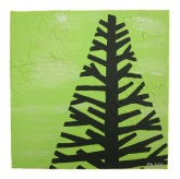"Green tree I, 2011, Acrylic on canvas, 9""x9"". Copyright Rebe Banasiak, The Brush Hilt and Banasiak Art Gallery."