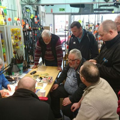 BAC Frankie McPhillips in Coburns on 22 April 2017 with a group of anglers and fly tyers