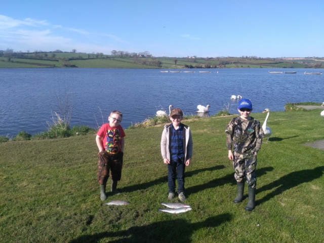 BAC Junior Anglers at the SH&SCT Cup weigh-in at Cornbet Lough on Saturday 21 April 2018