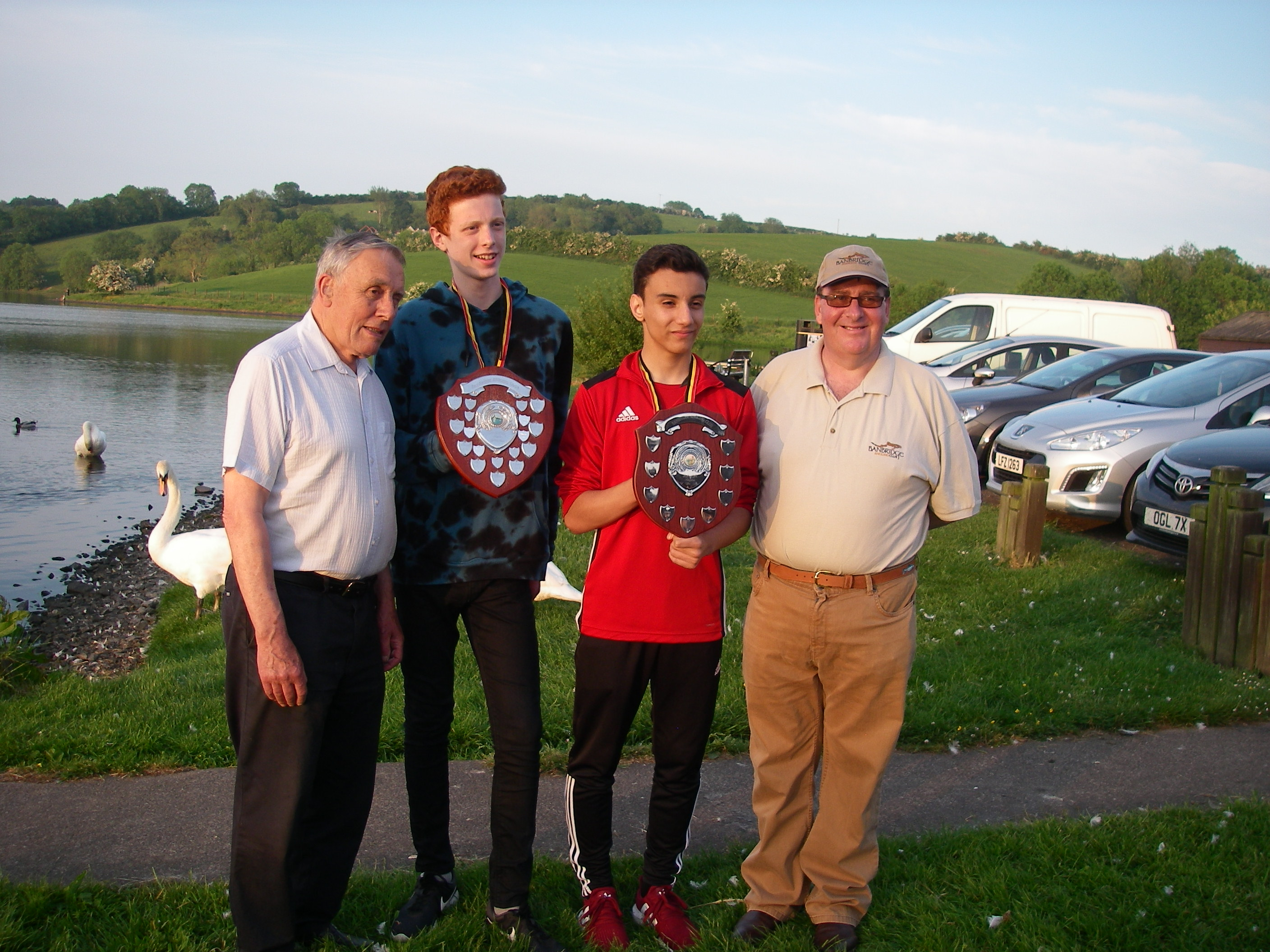 BAC Joe McCandless, President and Martin Dynes, Competition Secretary with the Juvenile and Junior Anglers of the Year 2017 - Corbet Lough 31 May 2018