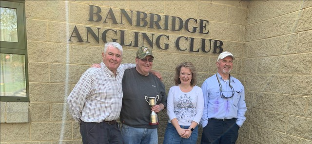 BAC The Linda McCandless Cup Competition on the River Bann on 22 April 2019 - Trevor Jones 3rd, Martin Dynes 1st, Dr Jacqueline McCandless and Geoff Hylands 2nd