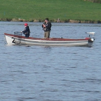 BAC Corbet Lough 6 April 2019 - Sandy Boyd assisted by his grandson Jordan take another nice fish to the boat