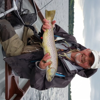 BAC Geoff Hylands with a lovely Brownie taken on the Mayflyon Lough Sheelin on 18 May 2019