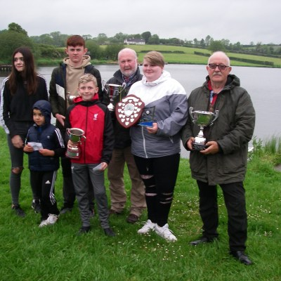 BAC - Juvenile and Junior Prize Distribution at Corbet Lough on 30 May 2019 - Joe Curran, Secretary and Wilson Clinghan, Assistant Competition Secretary with the 2018 Juvenile and Junior Prize Winners