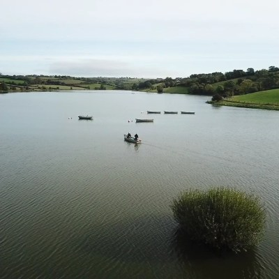 BAC - Anglers heading out at Corbet Lough on 2 October 2019 - Photograph courtesy of Chris Wolfe (taken by drone)