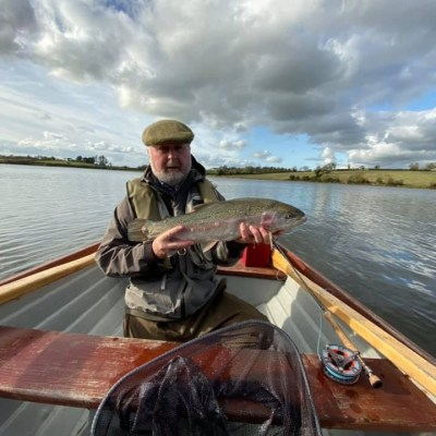 BAC - Joe Curran with a beautiful Rainbow Trout 5lbs - caught on the fly at Corbet Lough on 30 October 2019