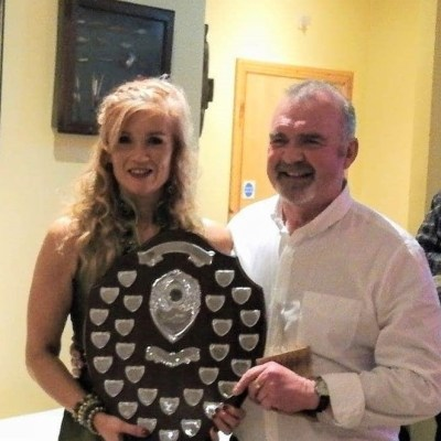 BAC - Clare Flack presents the Angler of the Year Shield to Geoff Hylands on 31 January 2020