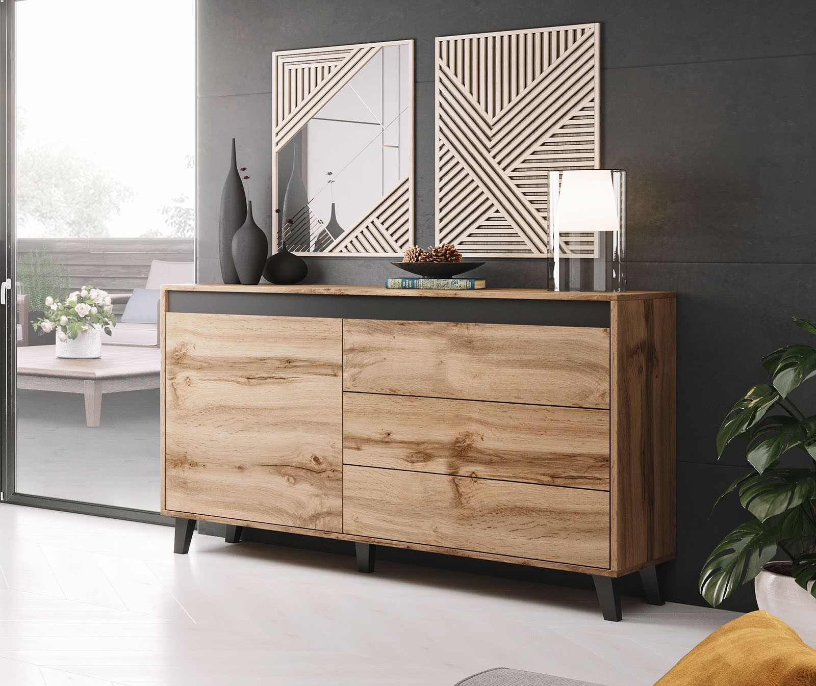 Sideboard Modern Bmf Nord Sideboard Chest Of Drawers Modern Living Room 138 Cm Wide | Ebay
