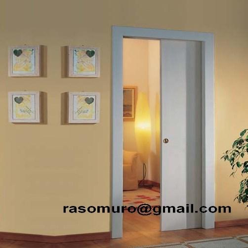 Porta scorrevole a scomparsa interno muro Bianca completa di serratura 607080  eBay