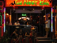 Outside the Noot bar